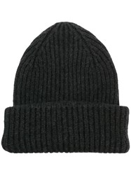 Roberto Collina Classic Knitted Beanie Hat Grey