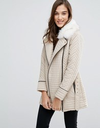New Look Faux Fur Quilted Biker Jacket Stone Beige
