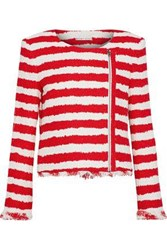 Alice Olivia Stanton Striped Tweed Jacket Red