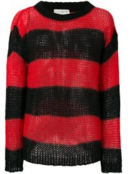 Faith Connexion Open Knit Striped Jumper Men Mohair M Red