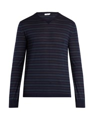 Boglioli Crew Neck Wool Blend Sweater Navy Multi
