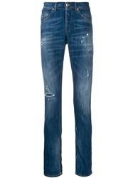 Dondup Distress Slim Fit Jeans Blue