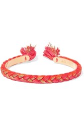 Aurelie Bidermann Copacabana Gold Plated Braided Cotton Bangle Bright Orange