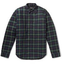 Balenciaga Quilted Checked Cotton Flannel Overshirt Green