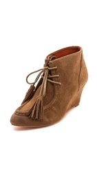 Rebecca Minkoff Mia Lace Up Wedge Booties Bark