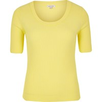 River Island Womens Yellow Knit Scoop Neck Top