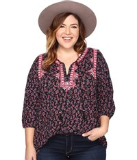 Lucky Brand Plus Size Embroidered Boho Top Black Multi Women's Clothing