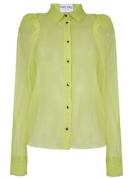 Daizy Shely Sheer Puffed Sleeve Shirt Green
