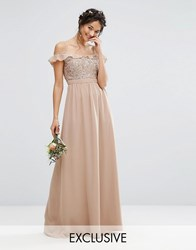 Maya Cold Shoulder Maxi Dress With Delicate Sequins Pale Mauve Pink