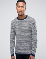 Jack And Jones Striped Knitted Crew Navy