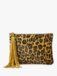 And Or Isabella Leather Animal Print Clutch Bag Leopard Print
