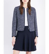Armani Collezioni Metallic Tweed Woven Jacket Navy