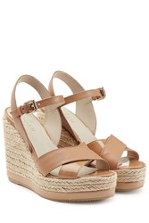 Hogan Leather Wedge Sandals Brown