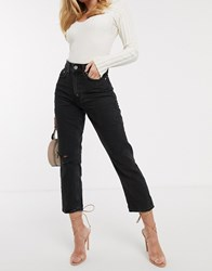 River Island Distressed Mom Jeans In Washed Black