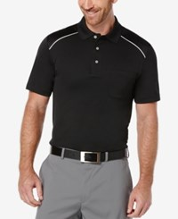 Pga Tour Men's Debossed Argyle Trim Golf Polo Caviar