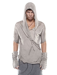 Demobaza Rise Hooded Cotton Wrap Style T Shirt Beige Grey