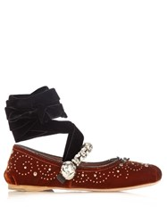 Miu Miu Crystal Embellished Velvet Ballet Flats Dark Orange
