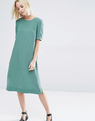 Selected Alice Midi Dress In Silk Green
