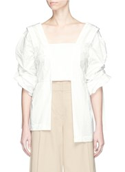 Toga Archives Balloon Sleeve Embossed Taffeta Blouse White