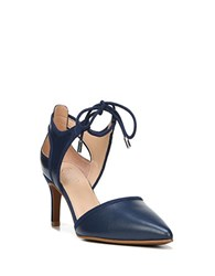 Franco Sarto Darlis Leather Point Toe Pumps Navy Blue