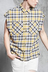 Forever 21 Frayed Plaid Flannel Shirt Yellow Black