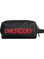 Burberry Graffiti Zipped Pouch Black