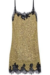Robert Rodriguez Woman Chantilly Lace Trimmed Sequined Jersey Mini Slip Dress Gold