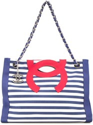 Chanel Vintage Cc 2Way Marin Cruise Shoulder Tote Bag Blue