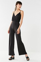 Urban Outfitters Uo Slinky Surplice Jumpsuit Black