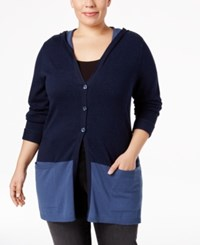 Styleandco. Style Co. Plus Size Colorblocked Hooded Cardigan Only At Macy's Indigo Blue Combo