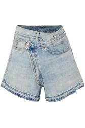 R 13 R13 Denim Wrap Shorts Mid Denim