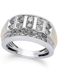 Macy's Men's Diamond Cluster Two Tone Ring 2 Ct. T.W. In 10K Gold And White Gold