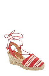 Patricia Green Women's Tessa Ankle Wrap Espadrille Wedge Red Fabric