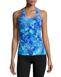 Commando Printed Racerback Tank Top Blue Burst