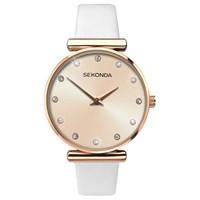Sekonda 2472.27 'S Sparkle Leather Strap Watch White Gold