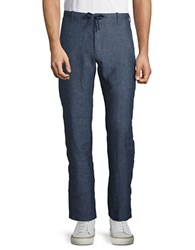 Perry Ellis Straight Leg Linen Pants Bay Blue