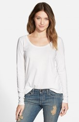 Junior Women's Bp. Scoop Neck Long Sleeve Tee White