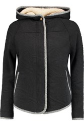 Marc By Marc Jacobs Quilted Cotton Blend Hooded Jacket Black