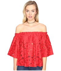 Bb Dakota Oregano Floral Eyelet Off Shoulder Top With Bra Bandeau Removable Straps Rococo Red Women's Clothing