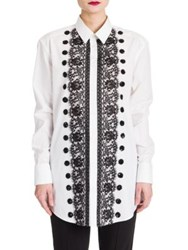 Dolce And Gabbana Sequin Lace Embellished Poplin Shirt White
