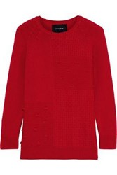 Simone Rocha Woman Paneled Wool And Cashmere Blend Sweater Red