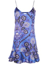 Caroline Constas Abstract Print Short Dress Blue