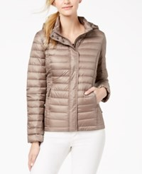 32 Degrees Packable Hooded Puffer Coat Taupe