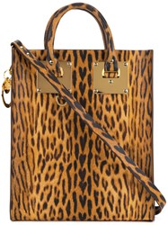 Sophie Hulme Albion Mini Leopard Tote Women Leather One Size Brown