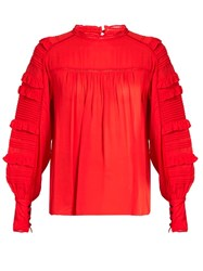 Isabel Marant Qimper Silk Blend And Lace Blouse Red
