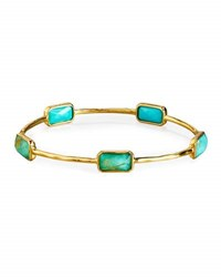 Ippolita 18K Gold Rock Candy Gelato 5 Stone Bangle Rutilated Quartz Turquoise