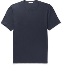 James Perse Slim Fit Combed Cotton Jersey T Shirt Blue