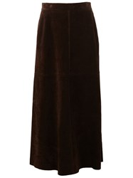 Saint Laurent Long Leather Skirt Brown