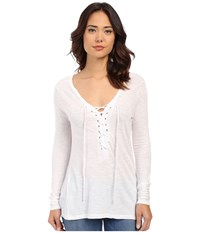 Brigitte Bailey Darcy Tie Front Top White Women's Long Sleeve Pullover