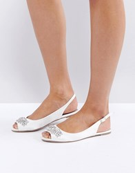 Asos Love At First Sight Bridal Embellished Ballet Flats White Satin